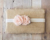 Girls Headband, Newborn Headband, Peach Headband, Baby Headband, Shabby Chic Flower Headband, Photography Prop, Baby Hair Accessories