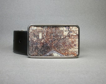 Belt Buckle Vintage Saint Paul Minnesota Map on Metal Unique Gift for Men or Women