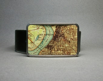 Belt Buckle Memphis Tennessee Vintage Map on Metal Groomsmen Gift