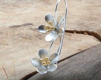 Flower Silver Drop Earrings, Delicate Long Flower Stems Lightweight Earrings, Unusual Flower Drops, Flower Jewelry, Bridesmaids Earrings