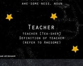 Awesome Teacher Card Thank you schools out chalkboard stars