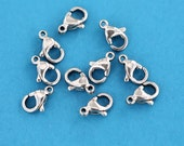 """10 Lobster Clasps Stainless Steel Natural Color 10mm x 6.50mm (3/8"""" x 9/32"""") - FF238"""