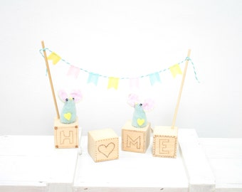 Celebration of Home with Bunting and Meeces or Mouses