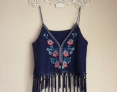 Boho Chic Top Strappy Fringe Summer Navy Blue Embroidery Indian Chiffon Tunic Vest Bohemian Cropped Coachellla Coral Gypsy Hippie Moroccan