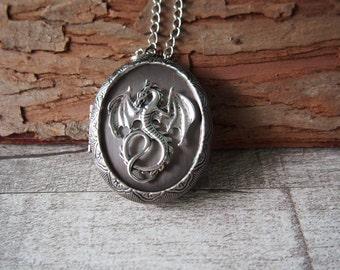 Flying Dragon Necklace Brass Locket Necklace Oxidized Silver Jewelry Handmade Necklace Statement Necklace  11506