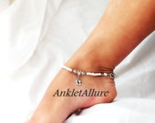 Beachy Feet Foot Charm Anklet Cruise Vacation Anklet Beach Ankle Bracelet Glass White Ankle Bracelet