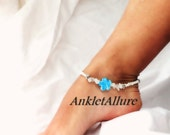 Stained Glass Flower Anklet Blue Anklet Cruise Vacation Glass Beach Ankle Bracelet