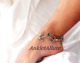 Anchor Anklet Cruise Jewelry Nautical Ankle Bracelet Boat Jewelry Body Jewelry Foot Jewelry