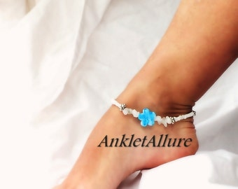 Stained Flower Anklet Island Cruise Jewelry Blue White Ankle Bracelet Beach Body Jewelry