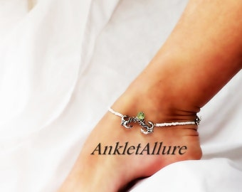 Sailing Buddy Cruise Vacation Anklet Double Anchor Anklet Green Crystal Silver Ankle Bracelet