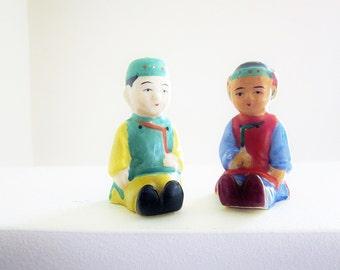 1930s Novelty Salt And Pepper Shakers - Japan Pre WWII Porcelain - Vintage Kitsch Home Decor - Figural Salt Shaker Asian Ethnic Stereotype