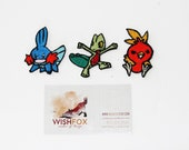 "Iron-On Pokemon Patches, Machine Embroidered, 2"" small size mudkip treecko torchic gen3 hoenn starters, MSD SD BJD"