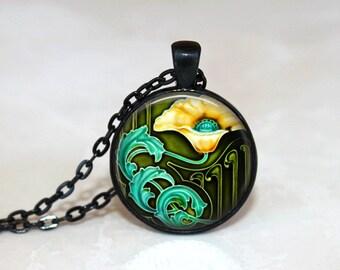 Glass Tile Necklace Art Deco Necklace Art Deco Jewelry Brass Earrings Brass Jewelry Glass Tile Jewelry Flower Necklace Flower Jewelry