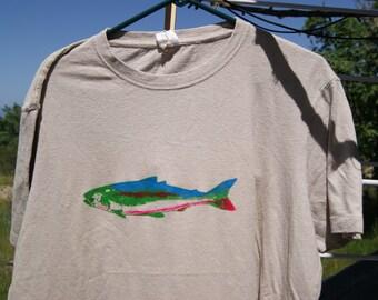 Salmon Print Men's XL Natural Hemp Organic Cotton Short Sleeve Shirt