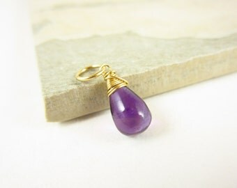 Sale - Sm - African Amethyst Pendant - Natural Amethyst Jewelry - February Birthstone Jewelry - Mommy Necklace Charm - Mommy Jewelry - Purpl