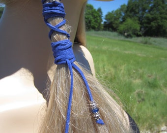Beaded Braid Hair Wraps Leather Accessories Ponytail Holders  Bohemian Hair Style Ties  Blue   Z114