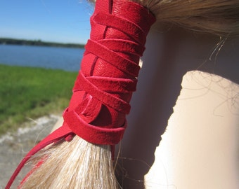 Hair Ties Leather Ponytail Holder Red Hair Wrap Jewelry Bohemian Gypsy Style Clothing Z101
