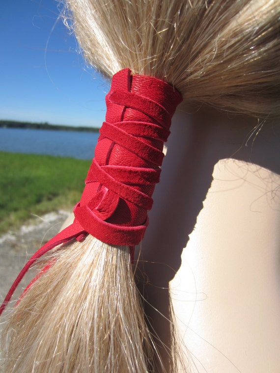 Hair Ties Leather Ponytail Holder Red Hair Wrap By