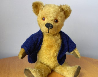 Vintage Mohair Bear - 1930's Pedigree Bear - English Teddy - 15 inch Bear - Bear With Working Squeaker