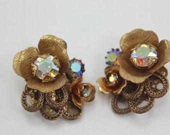 Vintage Kramer Designer Rhinestone Clip Earrings Gold Floral Aurora Borealis Signed
