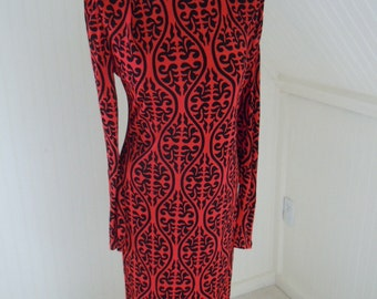 Slinky 1980s Viscose European Jersey Party Dress, US S-M, Red and Black Drama