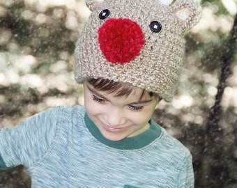 Christmas Hat, Reindeer Hat, Child Reindeer Hat, Baby Reindeer Hat, Newborn Rudolf Hat, Newborn Christmas Hat, Baby Crochet Hat  PHOTO PROP