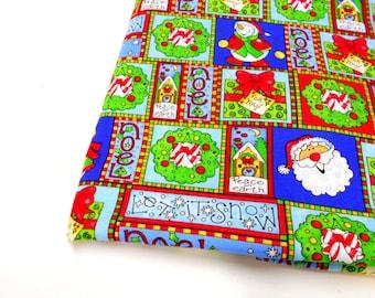 "Christmas Print Fabric, Joan Elliot, 17"" Cotton Holiday Print Material, Craft Supplies"