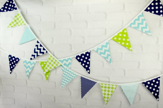 Navy Lime Green & Aqua Fabric Pennant Bunting Banner - great for birthday party decor, nursery, playroom, cake smash, photo prop