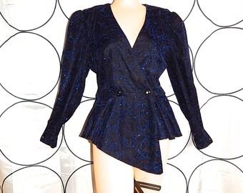 Vintage 80s does 40's black metallic lurex blue purple polka dots dramatic asymmetric floral frou frou new look pin up bombshell jacket S M