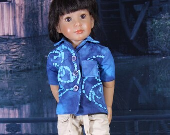 Cargo Pants and Hawaiian shirt pattern for Kidz n Cats and other slim 18 inch dolls