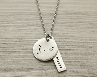 Pisces, Pisces Necklace, Pisces Jewelry, Constellation Necklace, Zodiac Jewelry, Constellation Jewelry, Zodiac Gifts,February March Birthday