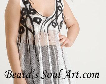 Summer tunic, OOAK Art to Wear Black & White, Summer tunic, Spring tunic, Summer white tunic