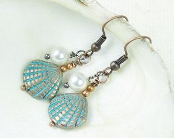 White Pearl Earrings, Seashell Jewelry, Patina, Beaded Earrings, Sea jewelry, June birthstone earrings, Seashell Rustic Beach Earrings,