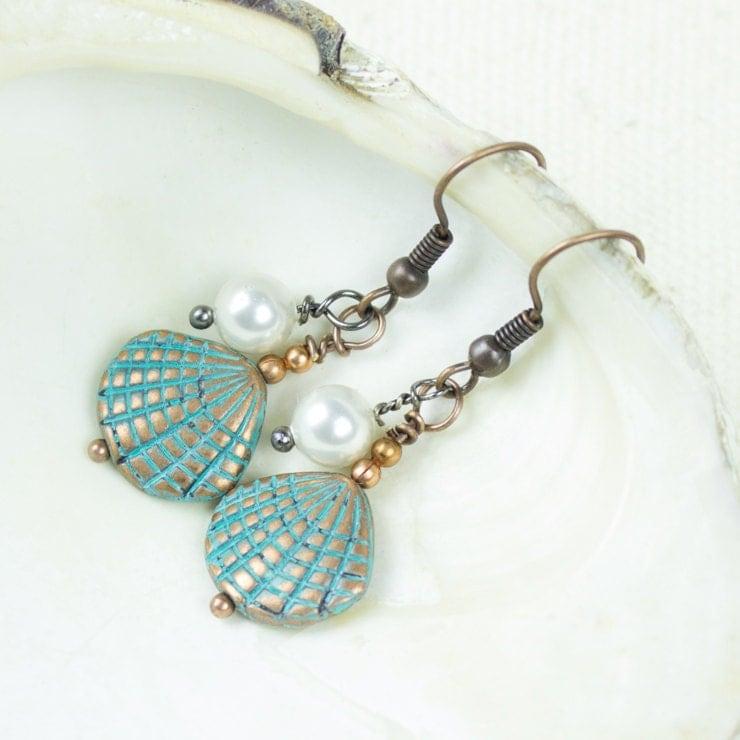 white pearl earrings seashell jewelry patina beaded