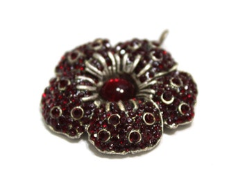 Victorian Style Pendant Of Red Flower