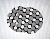 Organic Nursing Pads Bamboo Fleece with PUL - White, Black, and Grey Polka Dots - 2 Pads - READY To SHIP