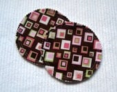 Organic Nursing Pads Bamboo Fleece with PUL - Brown, Pink, Green Squares - 2 Pads - READY to SHIP