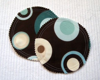 Organic Nursing Pads Bamboo Fleece with PUL - Brown, Blue, and Cream Dots - 2 Pads - READY To SHIP