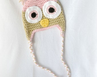 READY TO SHIP - Crochet Baby Owl Earflap Hat - 3-6 months - Soft Pink and Bone