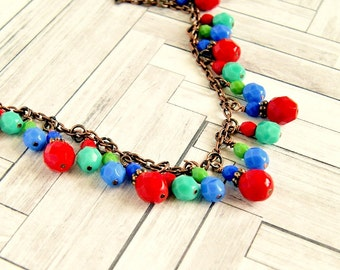 colorful rustic copper beaded necklace, bohemian, bib necklace