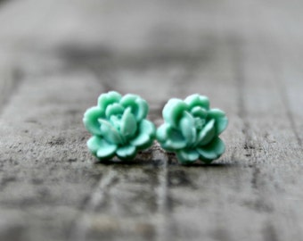 Flower Earrings, Mint Green Resin Rosettes with Hypoallergenic Titanium Posts/Studs