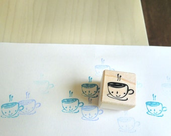 Cute Coffee Stamp - Mr. Happy Cuppa, Cup Stamp
