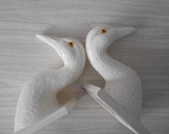 large vintage white ceramic duck head mount // animal wall head