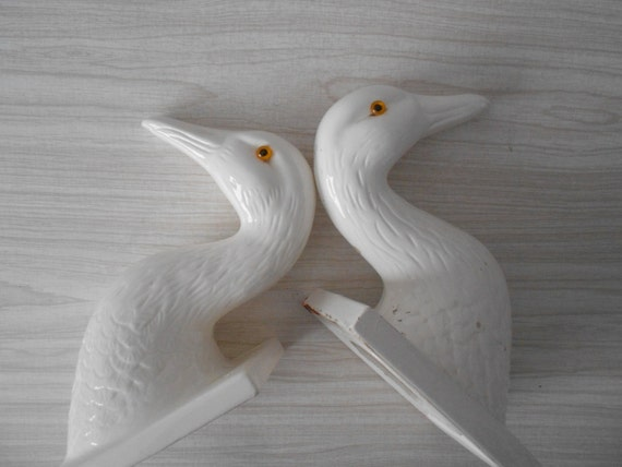 large vintage white ceramic duck head mount // animal wall head