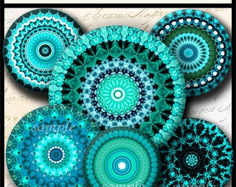 INSTANT DOWNLOAD Turquoise Mandalas (765) 4x6 & 8.5x11 12mm circles Printable Download Digital Collage Sheet glass cabochon earrings images
