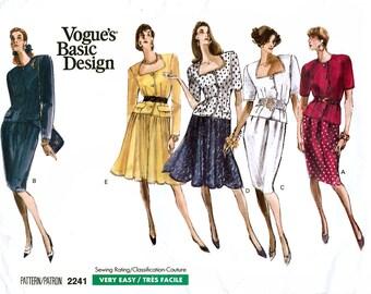 Vogue Basic Design 2241 Vintage 80s Misses' Top and Skirt Sewing Pattern - Uncut - Size 12, 14, 16 - Bust 34, 36, 38