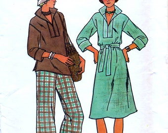 Butterick 4125 Vintage 70s Misses' Dress, Tunic, Pants and Belt Sewing Pattern - Uncut - Size 12 - Bust 34
