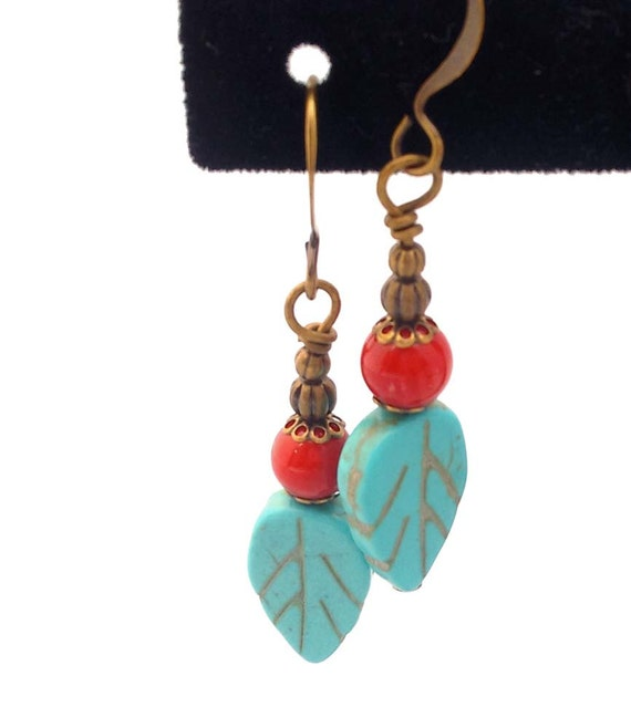 Turquoise Magnesite & Red Coral, Brass Bronze Antique Gold Dangle Earrings