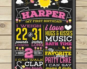You Are My Sunshine First Birthday Chalkboard Poster Printable - Girl 1st Birthday Chalkboard Sign - Yellow Pink 2nd Birthday Chalkboard