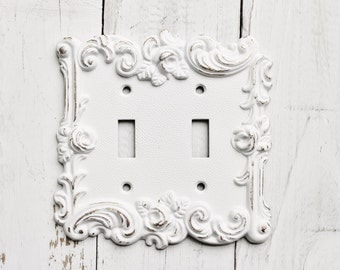 distressed metal wall decor double light switch cover white shabby chicroses